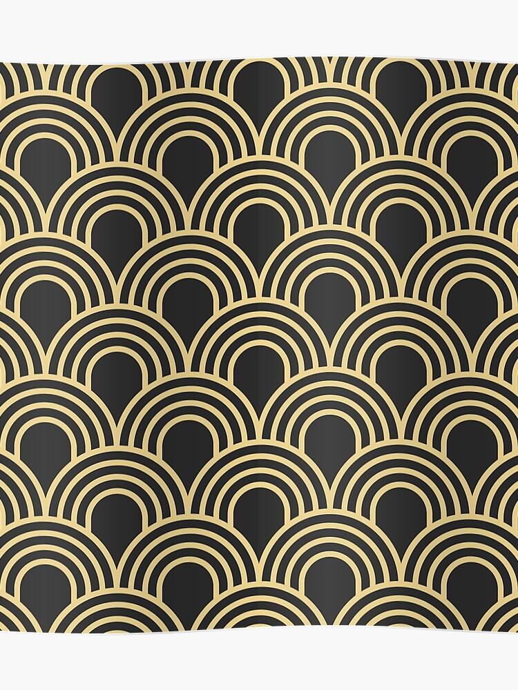 Astonishing Art Deco Gold Black Vintage Elegant Chic Shell Pattern 1920 Era The Great Gatsby Modern Trendy Poster Download Free Architecture Designs Grimeyleaguecom