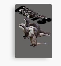 Otters In A Three Dimensional Text And Design Canvas Print