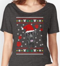 Black Labrador Retriever ugly sweater Christmas T-shirt and gift Women's Relaxed Fit T-Shirt