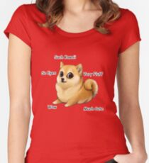 Kawaii Doge Women's Fitted Scoop T-Shirt