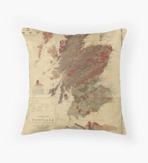 Vintage Geological Map of Scotland Throw Pillow