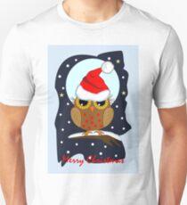 Cute Santa hat Owl Merry Christmas text card T-Shirt
