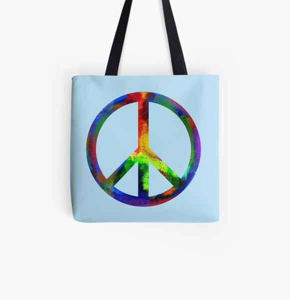Rainbow Peace Sign All Over Print Tote Bag