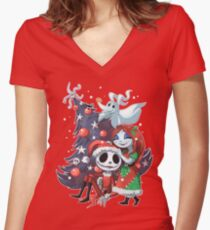 .Jack and Sally TNBC. Women's Fitted V-Neck T-Shirt