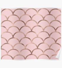 Rose gold mermaid scales Poster