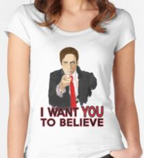 Mulder I Want To Believe Women's Fitted Scoop T-Shirt
