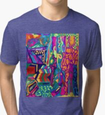 Brightly Colored Shapes and Patterns Tri-blend T-Shirt