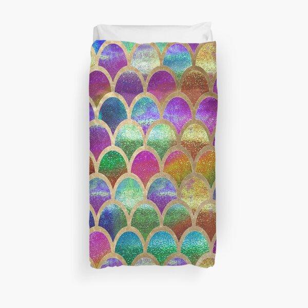 Rainbow mermaid scales Duvet Cover