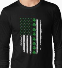 St. Patrick's Day Irish American Flag Long Sleeve T-Shirt