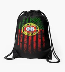 Portugal and America Flag Combo Distressed Design Drawstring Bag
