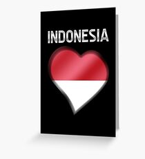 Bahasa indonesia stationery redbubble indonesia indonesian flag heart text metallic greeting card m4hsunfo