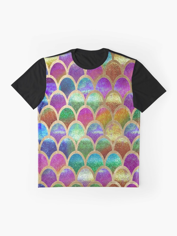 Vista alternativa de Camiseta gráfica Escamas de sirena del arco iris