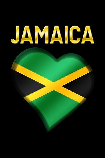 'Jamaica - Jamaican Flag Heart & Text - Metallic' Poster by graphix