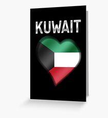 Kuwait - Kuwaiti Flag Heart & Text - Metallic Greeting Card