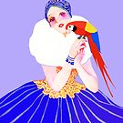 Vintage Dancer With Parrot by Marian Cates