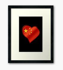Chinese Flag - China - Heart Framed Print
