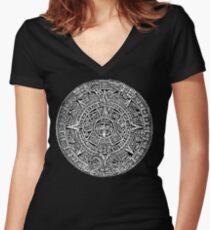 Aztec Calandar Sun Stone T-Shirt Mexican Mayan Culture Women's Fitted V-Neck T-Shirt