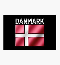Danmark - Danish Flag & Text - Metallic Photographic Print