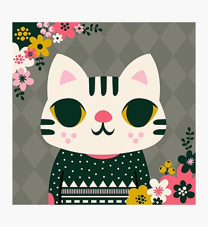 Cat in a Sweater Photographic Print