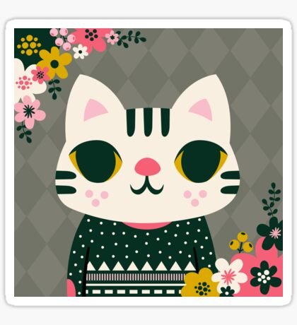 Cat in a Sweater Sticker