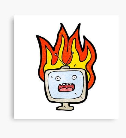 burning tv set cartoon Canvas Print