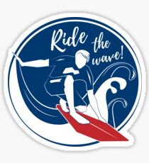 Surfer on big wave. Ride the wave. Extreme sports Sticker