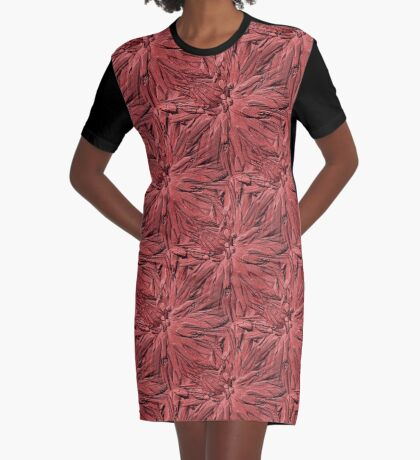 Dahlia Flower Petals Pattern In Dusty Rose Graphic T-Shirt Dress