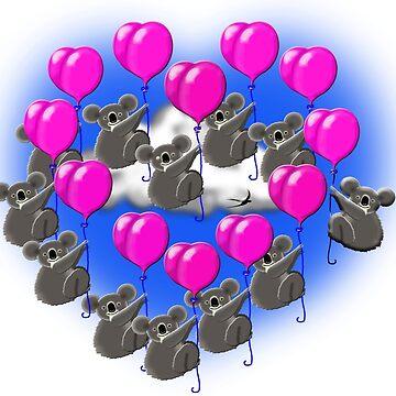 koala formation flying team  ( heart shaped ) by gruntpig