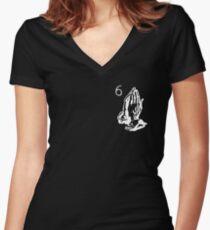 6 God logo White (Drake) Women's Fitted V-Neck T-Shirt