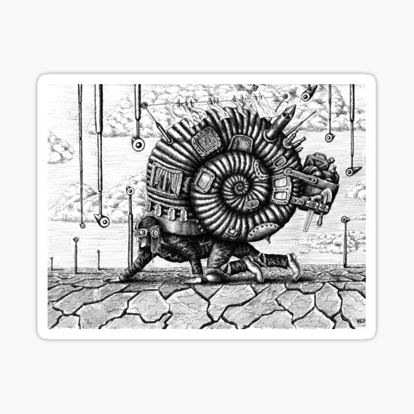 Life in the Shell surreal ink pen drawing Sticker
