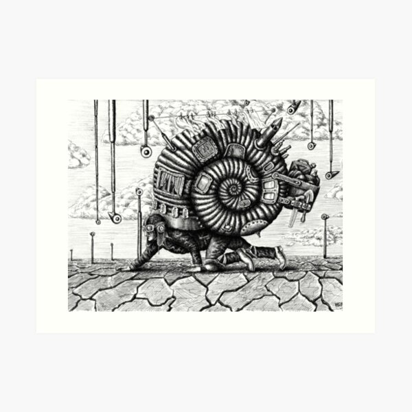 Life in the Shell surreal ink pen drawing Art Print