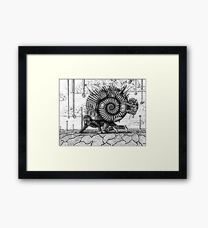 Life in the Shell surreal ink pen drawing Framed Print