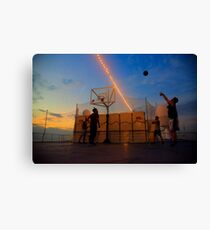 Playing Basketball in the Sunset Canvas Print