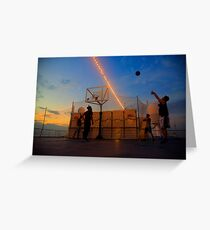 Playing Basketball in the Sunset Greeting Card