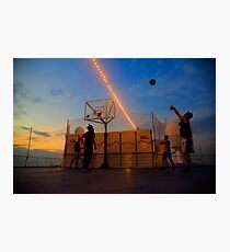 Playing Basketball in the Sunset Photographic Print