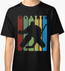 Retro 1970s Style Hockey Goalie Silhouette T Shirt Goalie Hockey Sport  Classic T-Shirt