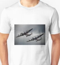 The 2 Lancasters - Tail Chase - Dunsfold 2014 Unisex T-Shirt