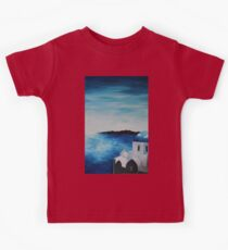 Santorini Greece View From Oia To Caldera Kids Tee