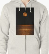 Harvest Moon Over Clear Lake Zipped Hoodie
