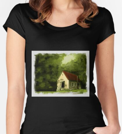 COUNTRY CHURCH, Pastel Painting, with Custom Edging, for prints and products Women's Fitted Scoop T-Shirt