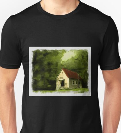 COUNTRY CHURCH, Pastel Painting, with Custom Edging, for prints and products T-Shirt