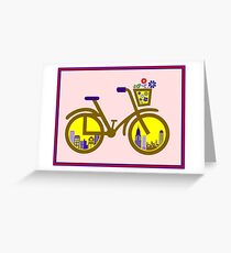 ABSTRACT BICYCLE; With Flower Basket Print Greeting Card
