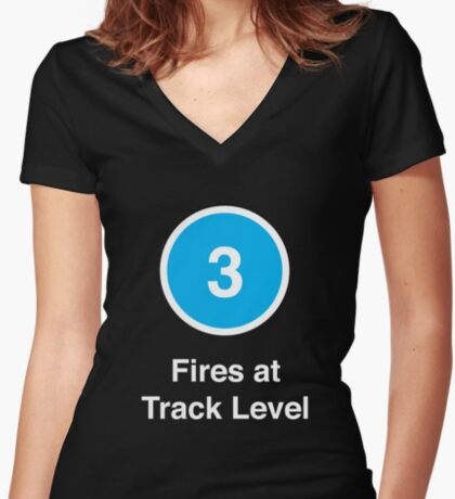Fires at Track Level Women's Fitted V-Neck T-Shirt