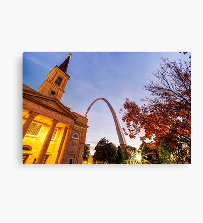 Autumn Sunrise - Downtown Saint Louis Gateway Arch And Old Cathedral Canvas Print