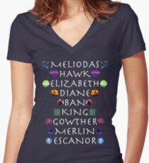 Seven Deadly Sins Names Women's Fitted V-Neck T-Shirt