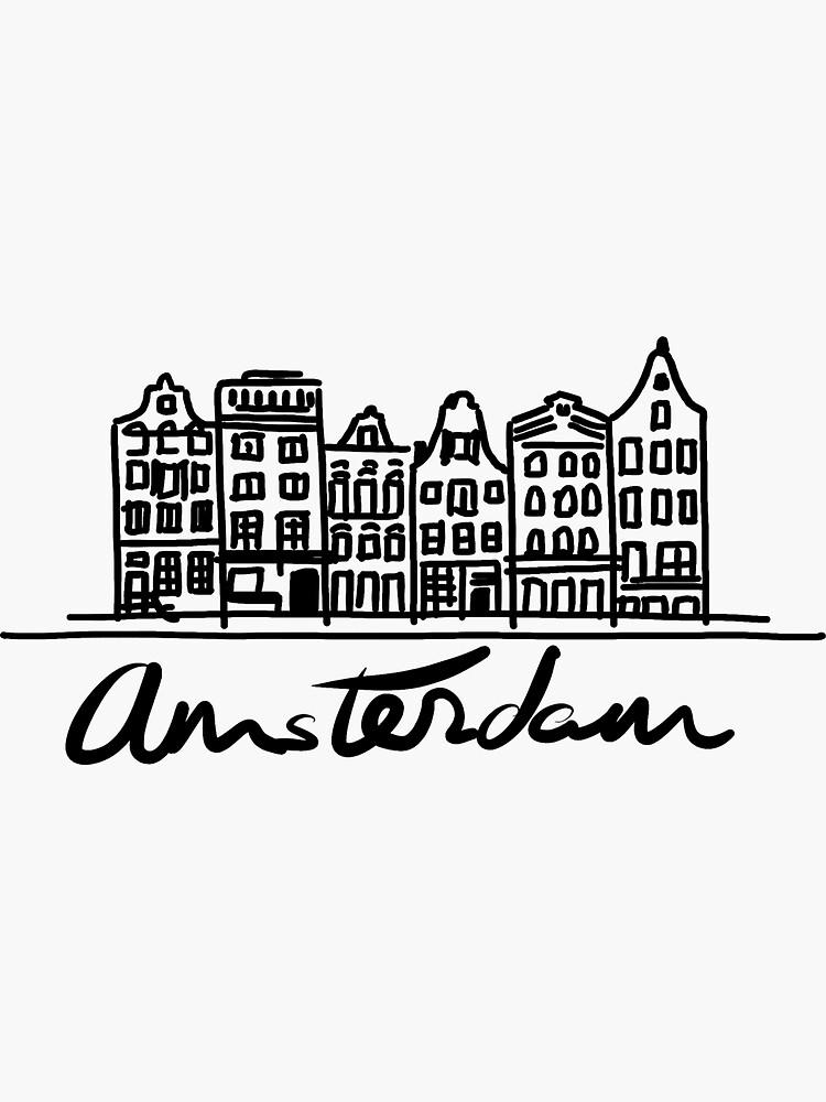 I love Amsterdam | dibujo casas de los canales de CovoStudio