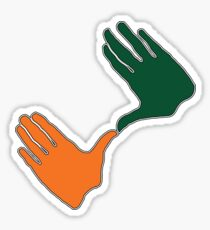 JVP University of Miami Throw Up the U Fan Hands on White Sticker