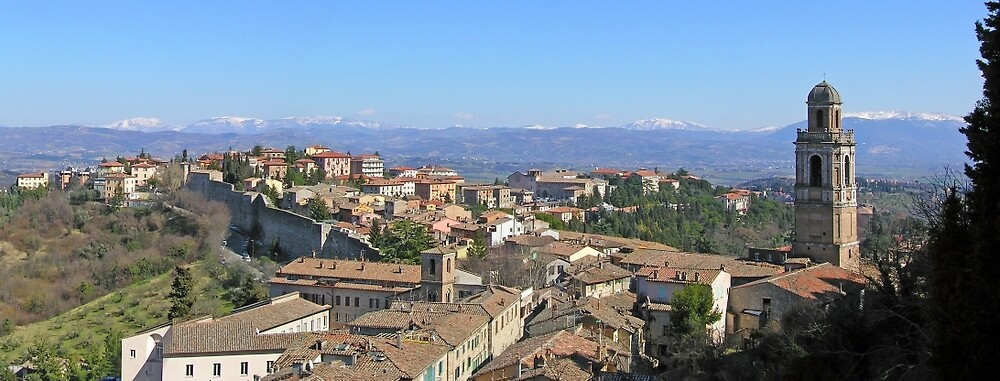 Italian panorama: looking out over Perugia's Monteluce district to the Tiber valley and the Apennines beyond. by Philip Mitchell