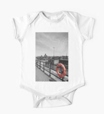 Life Ring With Cathedral In The Background, Liverpool, Merseyside Short Sleeve Baby One-Piece