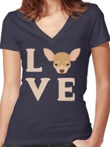 Love Chihuahua's - Cute Chi Lover Dog Puppy Face Women's Fitted V-Neck T-Shirt